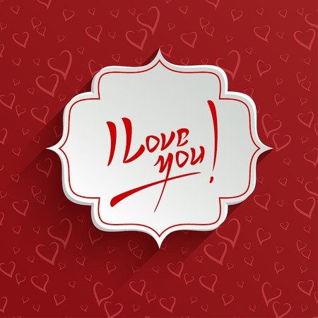I Love You - Valentines Day Hand lettering Greeting Card on 3d Banner with Shadow over Seamless Pattern with Stylized Hearts. Typographical Vector Background Vector