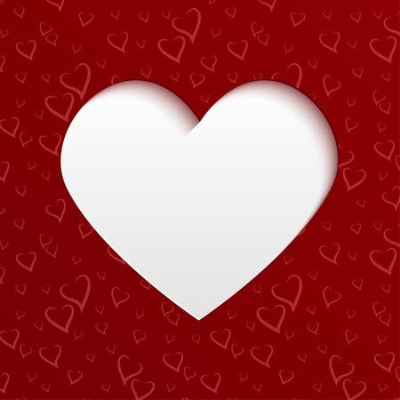 saint valentin coeur: Valentines day card with heart papier d�coup� de pattern rouge avec des coeurs stylis�s. Vecteur mod�le de conception pour votre voeux ou d'invitation carte