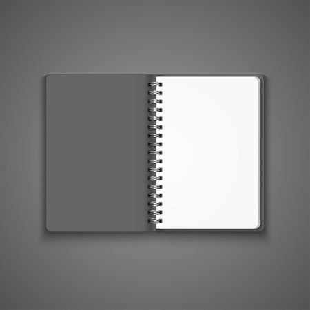 open notebook: Vector Realistic Blank Open Notebook Isolated on White Background. Spiral Notepad, Mock Up Illustration