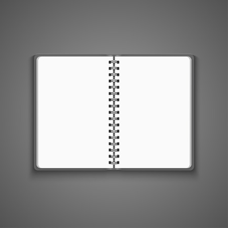 Vector Realistic Blank Open Notebook Isolated on White Background. Spiral Notepad, Mock Up  イラスト・ベクター素材