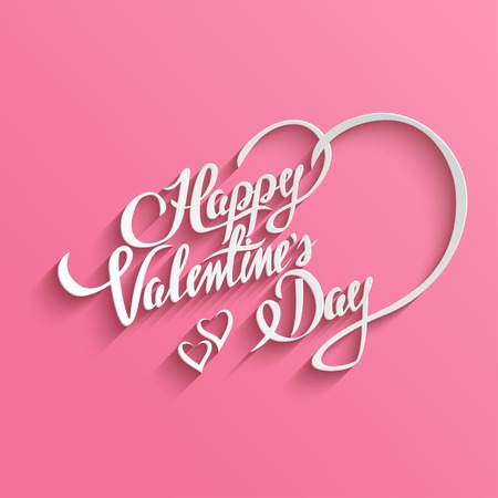 Happy Valentines Day Hand lettering Greeting Card. Typographical Vector Background. Handmade calligraphy. Easy paste to any background Vector