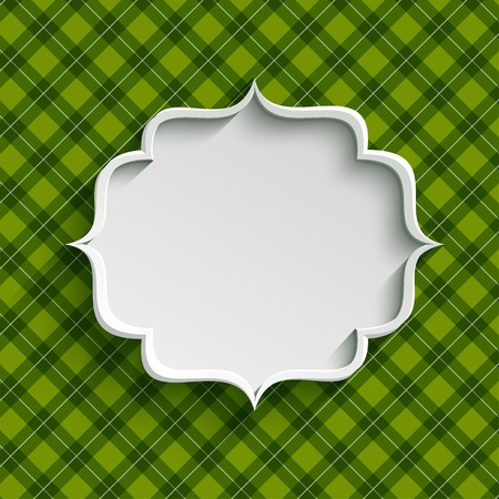 White paper banner in vintage or retro style over green pattern. St. Patrick`s day greeting card template Vector