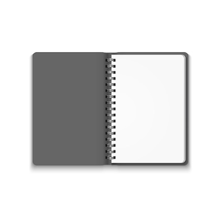 notebook paper background: Vector Realistic Blank Open Notebook Isolated on White Background. Spiral Notepad, Mock Up Illustration