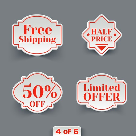 Vector Set of Sale Retro Labels. Vintage Paper Banners Collection Vector