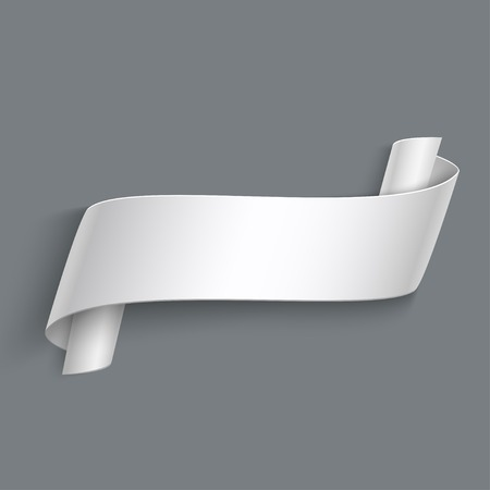 blank signs: Vector 3d Curved Paper Banner Isolated on Grey Background. Easy Paste to Any Background