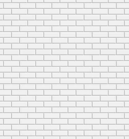 Vector white brick wall texture seamless pattern, abstract background