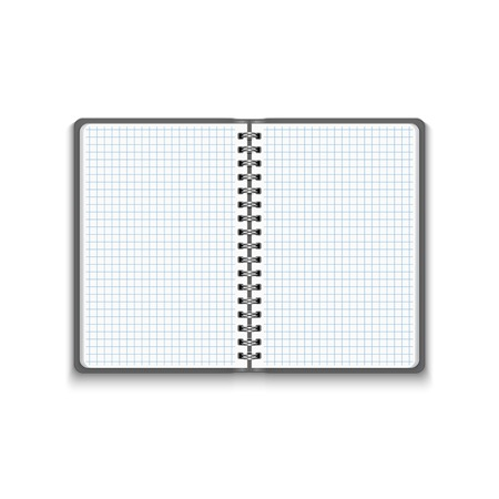 spiral notebook: Vector Realistic Blank Open Notebook Isolated on White Background. Spiral Notepad, Mock Up Illustration