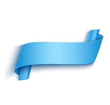 Vector 3d Blauwe Gebogen Paper Banner die op Witte Achtergrond. Makkelijk Plakken om Elke Achtergrond