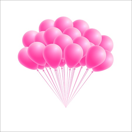 Vector bunch birthday or party pink balloons. Design element for greeting or invitation card