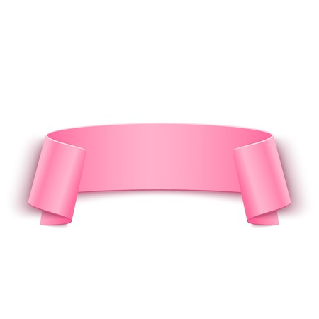 paper banner: Vector 3d Pink Curved Paper Banner Isolated on White Background. Easy Paste to Any Background
