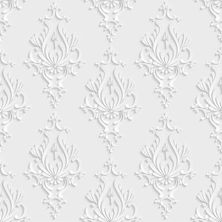 벡터 꽃 다마 3D 원활한 패턴 배경입니다. 배경 화면 또는 초대 카드에 대 한 장식