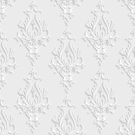 Vector Floral Damask 3d Seamless Pattern Background. Decoration For Wallpaper or Invitation Card Illustration