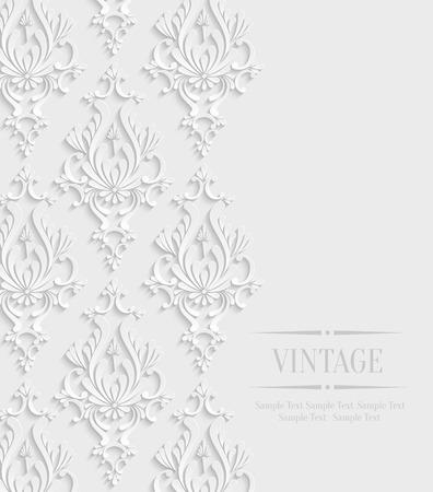 damask frame: Vector 3d Vintage Wedding or Invitation Card with Floral Damask Pattern Illustration