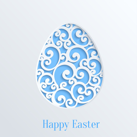 Happy Easter Greeting Card with Paper Cut Easter Egg. Vector Design Template Vector