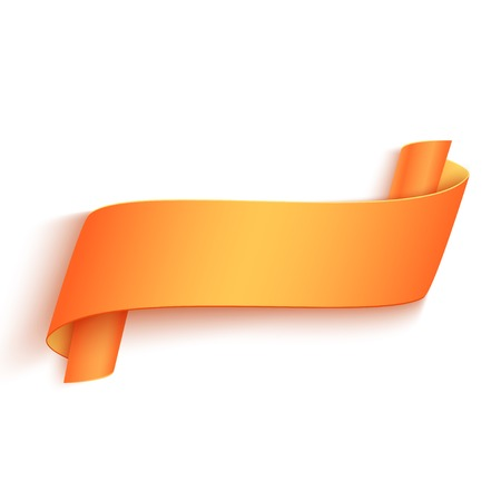 Vector 3d Orange Curved Paper Banner Isolated on White Background. Easy Paste to Any Background  イラスト・ベクター素材