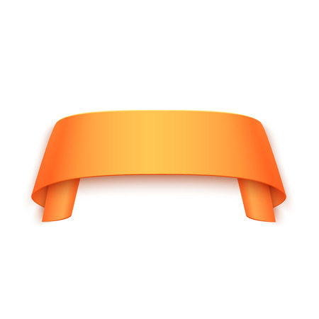 paper banner: Vector 3d Orange Curved Paper Banner Isolated on White Background. Easy Paste to Any Background Illustration