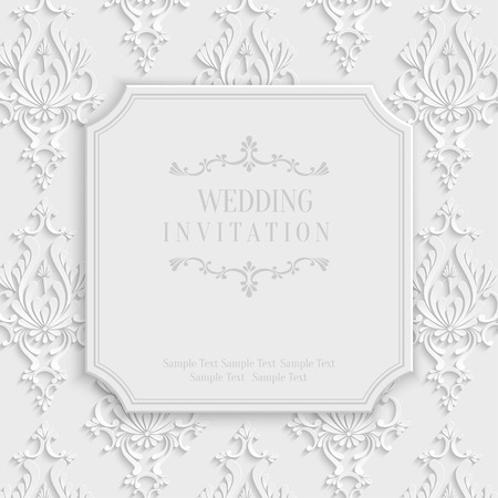 Vector 3d Vintage Wedding or Invitation or Greeting Card with Damask Floral Pattern Vector