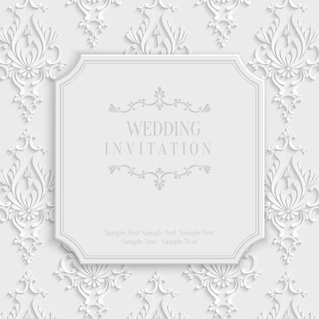 damask frame: Vector 3d Vintage Wedding or Invitation or Greeting Card with Damask Floral Pattern