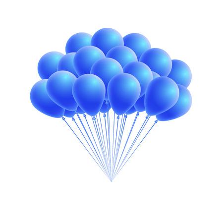 Vector Reihe Geburtstag oder Partei blauen Ballonen. Gruß-oder Einladungskarte Design-Element