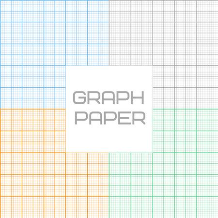 millimeter: Vector set of  graph millimeter paper seamless pattern