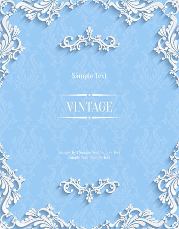 青い花の 3 d 背景をベクトルします。クリスマスの招待状テンプレート  イラスト・ベクター素材