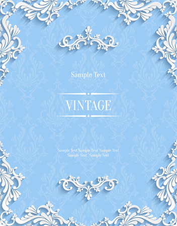 wedding backdrop: Vector Blue Floral 3d Background. Template for Christmas and Invitation Cards Illustration