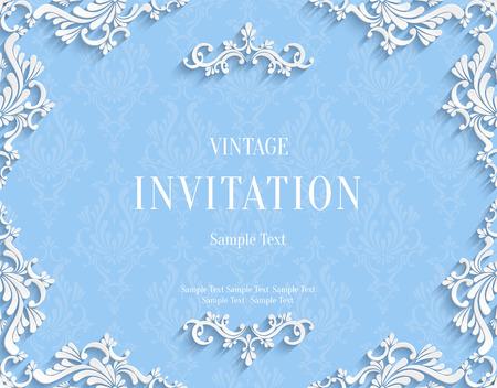 挨拶や紙のカット スタイルの招待状カードのデザインのブルーのビンテージ背景 3 d のダマスク織花柄テンプレートをベクトル