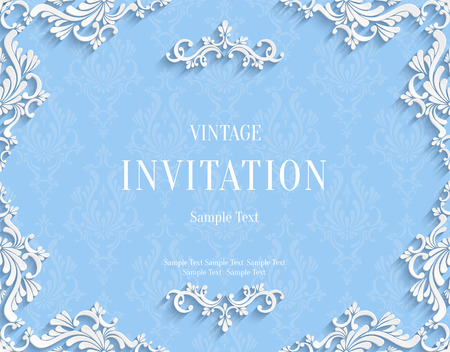 Vector Blue Vintage Background with 3d Floral Damask Pattern Template for Greeting or Invitation Card Design in Paper Cut Style