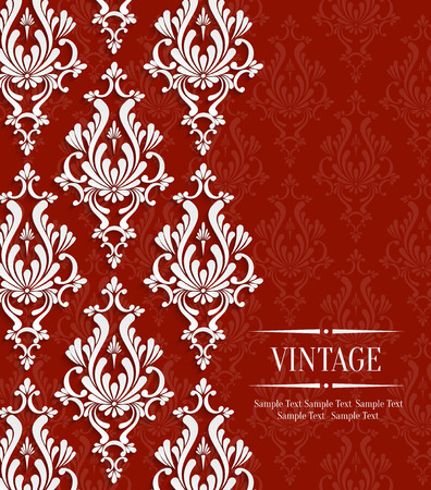 Vector Red Vintage Background with Floral Damask Pattern for Wedding or Invitation Card Illustration