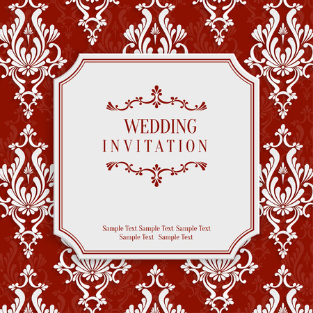 damask patterns: Vector Red Vintage Background with 3d Floral Damask Pattern for Greeting or Invitation Card Design in Paper Cut Style