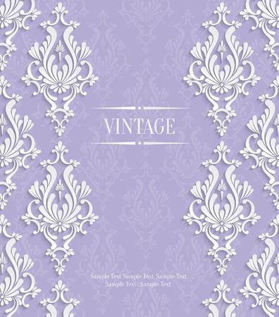 Vector Violet Vintage Background with 3d Floral Damask Pattern Template for Wedding or Invitation Card Vector