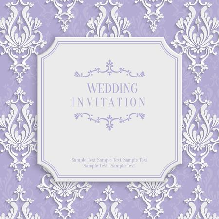 挨拶や紙のカット スタイルの招待状カードのデザイン 3 d ダマスク織花柄の紫色のビンテージ背景をベクトル