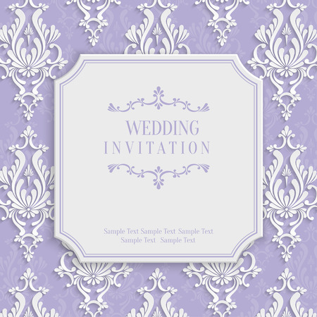 Vector Violet Vintage Background with 3d Floral Damask Pattern for Greeting or Invitation Card Design in Paper Cut Style