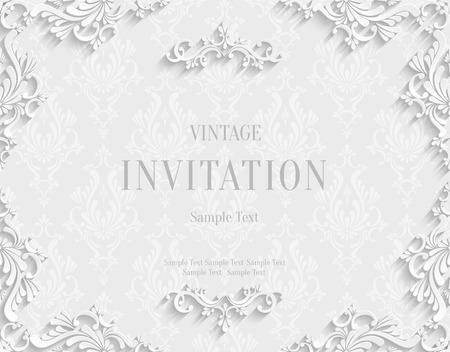 挨拶や紙のカット スタイルの招待状カードのデザインのビンテージ白地 3 d ダマスク織花柄テンプレートでをベクトル
