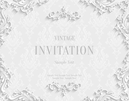 Vector White Vintage Background with 3d Floral Damask Pattern Template for Greeting or Invitation Card Design in Paper Cut Style 版權商用圖片 - 38961462
