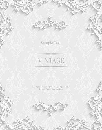 Vector floral blanco del fondo 3d. Plantilla para tarjetas de Navidad e invitación Foto de archivo - 38961463