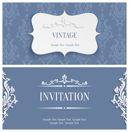 damask: Vector Grey Vintage Background with 3d Floral Damask Pattern for Greeting or Invitation Card Design in Paper Cut Style