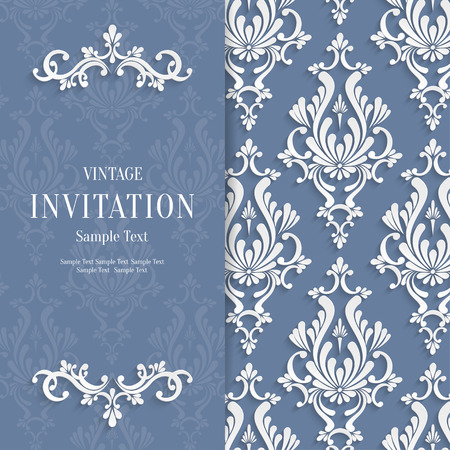 victorian wallpaper: Vector Grey Floral 3d Christmas and Invitation Background Template