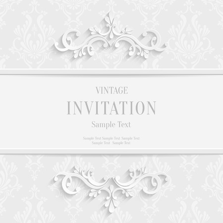 Vector White Floral 3d Christmas and Invitation Cards Background Illustration