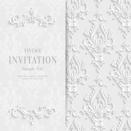 3d flower: Vector White Floral 3d Christmas and Invitation Background Template