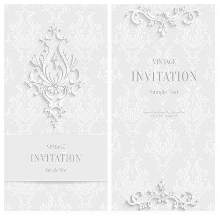 벡터 흰색 3 차원 꽃 수직 카드 세트, 크리스마스와 초대 템플릿 일러스트