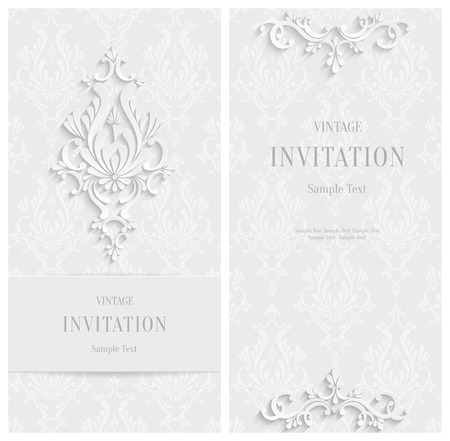 Vector White 3d Floral Vertical Cards Set, Christmas and Invitation Template