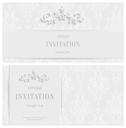 Vector White 3d Floral Horizontal Cards Set, Christmas and Invitation Template