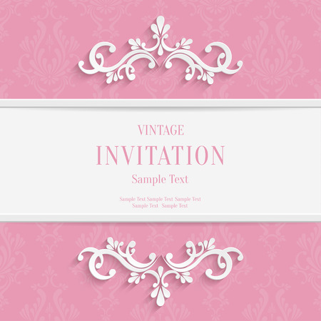 dinner date: Vector Pink Floral 3d Christmas and Invitation Cards Background