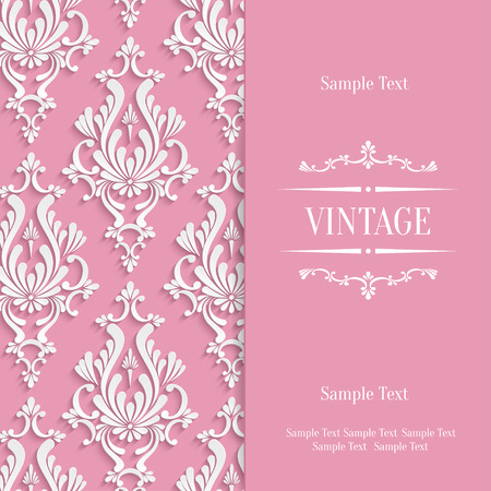 Vector Pink Vintage Background with 3d Floral Damask Pattern Template