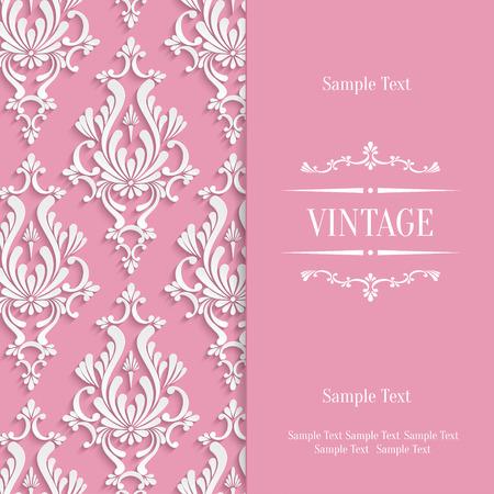 damask frame: Vector Pink Vintage Background with 3d Floral Damask Pattern Template