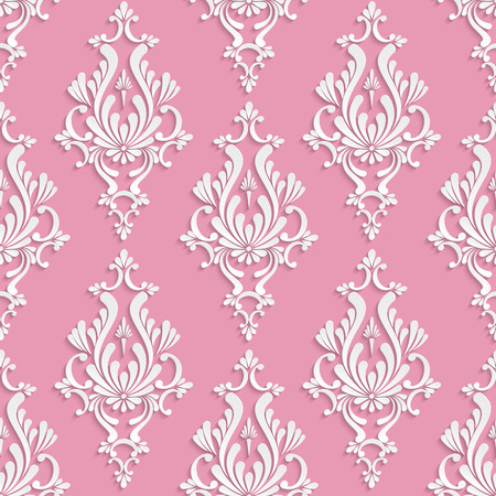 floral carpet: Vector Damask Seamless Background with 3d Floral Pattern over Pink Backdrop