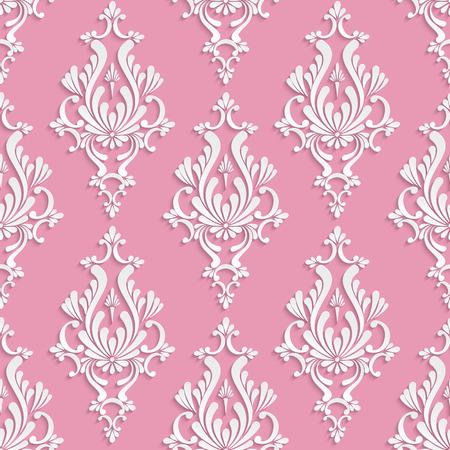 Vector Seamless Damask fond avec motif floral 3d sur toile de fond rose Banque d'images - 40224917