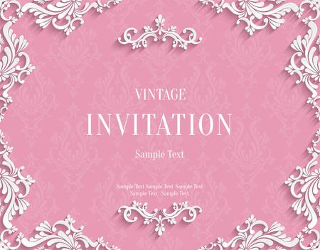 Vector rosa Weinlese-Hintergrund mit 3D-Blumen-Damast-Muster-Vorlage für Gruß oder Einladung Karte Design in Papier schneiden Stil