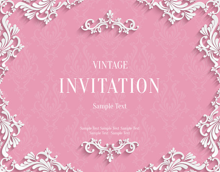 Vector Pink Vintage Background with 3d Floral Damask Pattern Template for Greeting or Invitation Card Design in Paper Cut Style Vettoriali